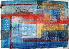 Fabric stitched and painted and stamped. by Jan Brattain