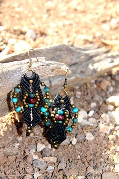 Macrame 'Back to Black' Earrings by KnotJunky on Etsy