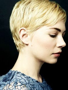 Celebrity hairstyle inspiration for pixie cut hairstyle featuring Michelle Williams.