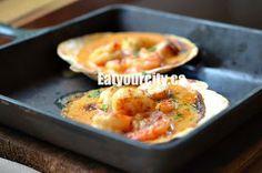 Scallops and Prawns Skillet House Restaurant, Vancouver Island, Prawn, Scallops, Log Homes, British Columbia, Skillet, Macaroni And Cheese, Eat