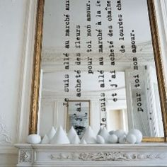 large mirror with vinyl letters, mais oui!