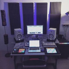 Home is where my studio is! Check out more studios and setups ! zimmer The studio setup you need! Home Recording Studio Setup, Home Studio Setup, Studio Desk, Dream Studio, Audio Studio, Music Studio Room, Home Music, Studio Equipment, My New Room