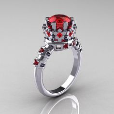 Modern Vintage 14K White Gold 1.5 Carat Ruby Classic Armenian Bridal Ring AR105-14KWGRR
