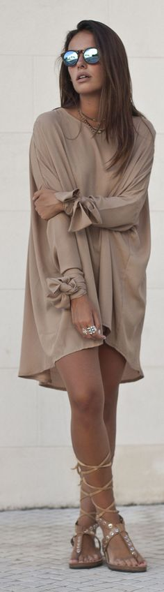 Never Fully Dressed Taupe Tied Sleeve Cuff Loose Tunic Dress