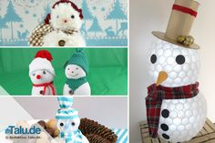 Schneemann basteln aus einfachen Materialien.