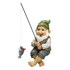 Design Toscano Ziggy The Fishing Gnome Garden Sitter Statue