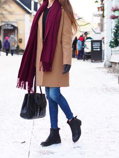 Camel coat + denim