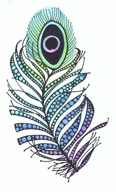Peacock Feather by Kyla deRuiter Doodles Zentangles, Zentangle Patterns, Zen Doodle, Doodle Art, Peacock Art, Peacock Feathers, Feather Art, Watercolor Feather, Illustrations