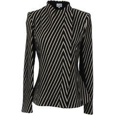 Armani Collezioni Blazer (4.915 VEF) ❤ liked on Polyvore featuring outerwear, jackets, blazers, black, black tweed blazer, stripe jacket, water proof jacket, black jacket and black striped jacket