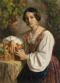 Joven muchacha romana con cesta de fruta/Young Roman Girl with a Basket of fruit,1847. Johann Endler.