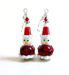 Snowman Santa Earrings Red Holiday Earrings by Elegencebyelaine, $30.00