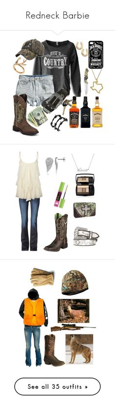 """""""Redneck Barbie"""" by kenzieredd ❤ liked on Polyvore featuring Maya Brenner Designs, H&M, M&F Western, Avon, Barbed, Hudson Jeans, Full Tilt, Ariat, Realtree and Miss Me"""