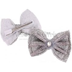 Silver Embellished Feather Bling Bow with Oval Gem with Clip