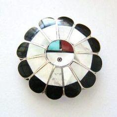 SunFace Sterling Silver Inlay Pin Pendant Combination Native American Zuni Jewelry
