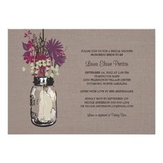 Discount Deals Bridal Shower Mason Jar and Wildflowers 5x7 Paper Invitation Card we are given they also recommend where is the best to buy