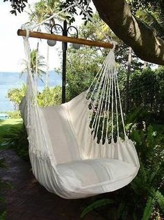 "Hammock Chair Hammock Chair Hammock ""Madeira"" at Hängesitz Hängesessel Hängesofa Sitzhängematte ""Madeira"" beige gestreift Backyard Hammock, Backyard Bar, Hammocks, Room Hammock, Hanging Hammock Chair, Hanging Chairs, Indoor Outdoor, Outdoor Living, Outdoor Decor"