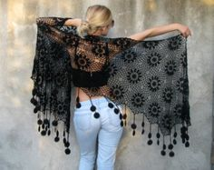 Women Accessories Colorful Crochet Cotton shawl by kovale on Etsy Crochet Shawl, Crochet Lace, Shawl Patterns, Crochet Patterns, Shawls And Wraps, Pulls, Black Cotton, Knitwear, Women Accessories