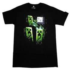Minecraft Three Creeper Moon Funny Video Game T-Shirt Tee Select Shirt Size: XXX-Large
