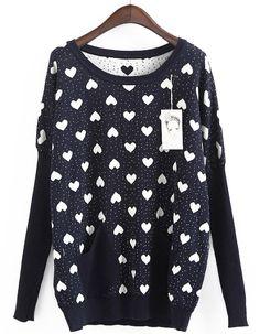 Dark Blue Long Sleeve Hearts Pattern Loose Sweater - Sheinside.com