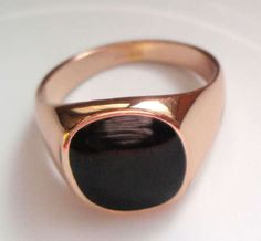 Exquisite Black Onyx 18kgp Rose Gold Men's Ring | eBay