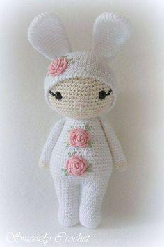 Such A Cute Bunny/Girl Crochet Häkeln Bunny Hase Girl Mädchen Amigurumi Application Crochet Doll Pattern, Crochet Patterns Amigurumi, Amigurumi Doll, Crochet Rabbit, Cute Crochet, Knitted Dolls, Crochet Dolls, Crochet Bobble, Stuffed Toys Patterns