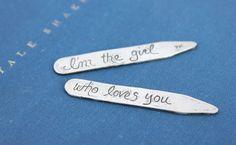 sterling silver collar stays . wedding day love token . secret message woodgrain…