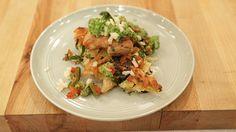 Mario Batali's Chicken Piccata  with Broccoli Pesto and Noodle Cake