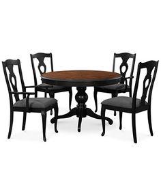 Branchville Black Round 5 Piece Dining Room Furniture Set