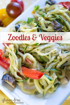 Zucchini is one of my favorite vegetables, and I love the way spiralizing it can really change up the presentation. In this recipe, zoodles (spiralized zucchini noodles) are paired with other veggies for an easy skillet side dish. Top Recipes, Side Dish Recipes, Whole Food Recipes, Side Dishes, Low Carb Zucchini Recipes, Spiralizer Recipes, Homemade Taco Seasoning