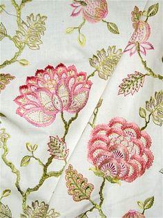 Wheaton 73 Petal Jacobean Embroidery   Covington Fabric 3295