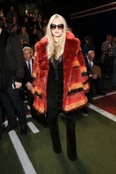 Rachel Zoe in a striped fur coat