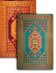 Mad Mats by Mariachi, recycled plastic outdoor carpets!  Love, just hose off!  Many designs!