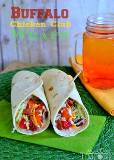 Buffalo Chicken Club Wraps from MomOnTimeout.com