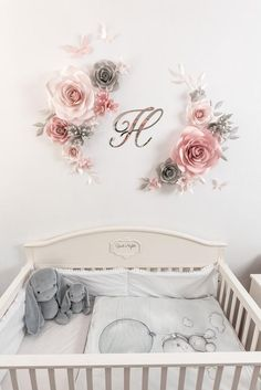 Premium Quality Paper Flower Set with Butterflies is a perfect addition to any nursery and silver mirror plastic Initial Sign makes this baby room so special. Use this paper flower set for weddings, room decor, desert table backdrop or birthday photo wall This Paper Flower Set 0f 9 Paper Flowers