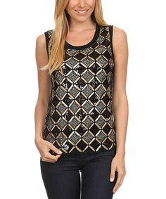 Love this Black Sequin Diamond Sleeveless Top on #zulily! #zulilyfinds