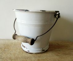 Antique french enamel bucket 1920s, Enamelware, White vintage bucket, Seau blanc émaillé French Antiques, Vintage Antiques, French Vintage, Enamel, Bucket, Products, White People, Buckets, Enamels