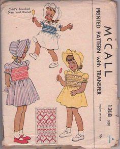 MOMSPatterns Vintage Sewing Patterns - McCall's 1308 Vintage 40's Sewing Pattern GORGEOUS Fancy Shirley Temple Era Girls Smocked Party Dress, Floppy Sun Brim Hat, Bonnet, Smocking Transfer Size 6
