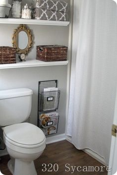 Small bathroom ideas @ Home DIY Remodeling. A great organized bathroom. Love a nice planned out space. Tradition Home Group - www.traditionhomegroup.com - Approves!