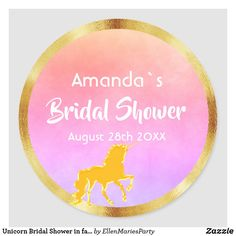 Unicorn Bridal Shower in faux gold violet pink Classic Round Sticker
