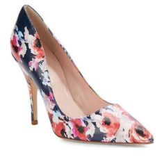 """KATE SPADE NEW YORK Licorice Floral Pumps Colorful floral pumps in sumptuous leather Self-covered heel, 4"""" Leather upper Point toe Leather lining and sole Padded insole kate spade Shoes Heels"""