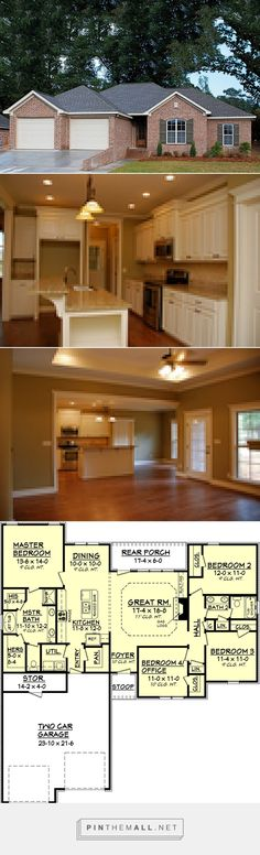 Traditional Style House Plan - 4 Beds 2 Baths 1750 Sq/Ft Plan #430-57 - created via pinthemall.net