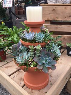 Clay pot succulent arrangement, could also be made into a candle holder or just fill the top with succulents as well. Would look great on a patio table or in the house.