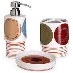 Dot Swirl 3-Piece Bath Accessory Set