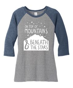 Take a look at this TKO tees Gray Frost & Navy 'On Top of Mountains' Raglan Tee today!