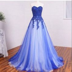 Sweetheart A-line Lace Tulle Long Prom Dresses, Formal Dresses, Blue Lace Long…