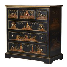 Black Chinese Decorated 6 Drawer Chest