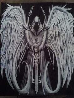 Angel of Death Tattoo idea to represent the life I was dealt to live. Everything I have ever believed was good for me, has turned out to be disastrous. Angel Of Death Tattoo, Biomech Tattoo, Archangel Tattoo, Grim Reaper Art, Dark Art Tattoo, Reaper Tattoo, Angel Tattoo Designs, Angel Warrior, Ange Demon