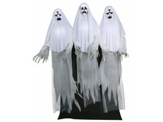 Introducing the Trio Of Haunting Ghosts!  These scary ghosts can stir up some ghostly trouble with this year's halloween display.  These three 6 foot Ghost characters have fabric-covered PVC heads with light-up faces & torsos, draped white fabric costumes, posable arms with creepy plastic long-fingered hands, and a black fabric drape to hide the easy-to-assemble frame. Plug in the UL power adapter into any standard outlet & choose from Steady-On, Infra-Red Sensor or Step-Here Pad (included)…