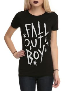 Fitted black tee with handwritten style Fall Out Boy logo design on front.