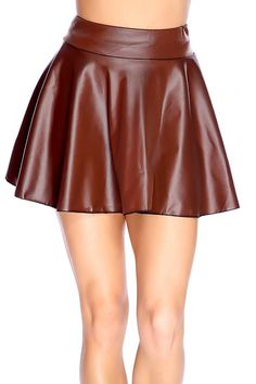 #FashionVault #kandy kouture #Women #Bottoms - Check this : Brown Faux Leather Skater Skirt for $24.99 USD